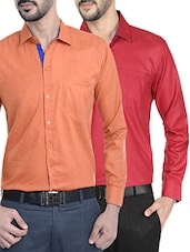 multi colored cotton blend formal shirt (set of 2) -  online shopping for formal shirts