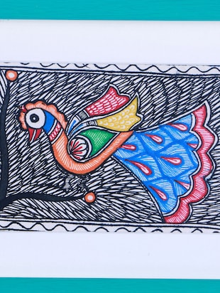 Madhubani Mithila Painting of Birds Celebrating Nature in line paintings - 14593646 - Standard Image - 4