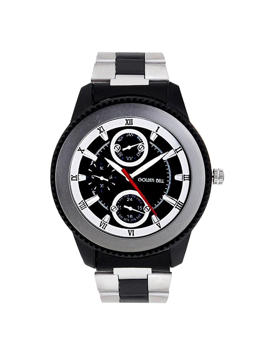 f456611133b8 Golden Bell Original Black Dial Black Silver (Two Tone) Chain Analog Wrist  Watch for Men - GB-993