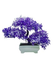 3 Headed Artificial Bonsai Tree with Purple and White Leaves -  online shopping for Indoor Plants