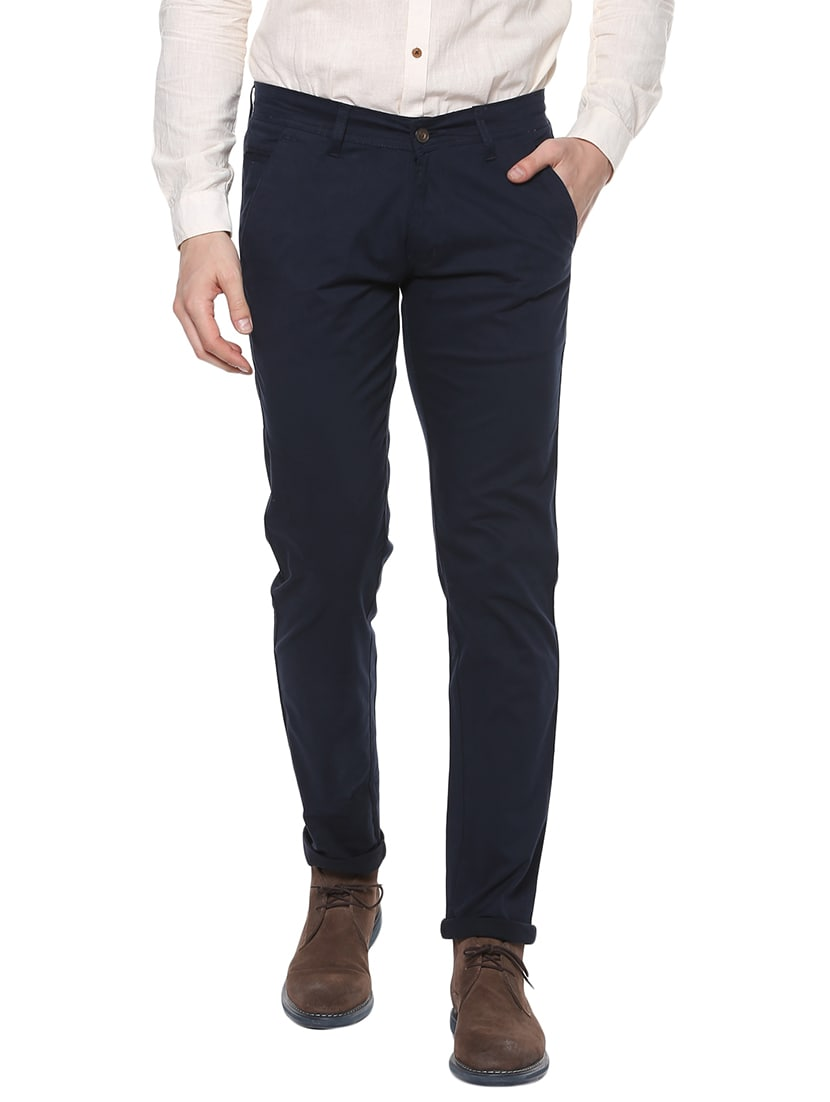 70db3ee8e7f Buy Navy Blue Cotton Chinos Casual Trousers by Urbano Fashion - Online  shopping for Casual Trousers in India