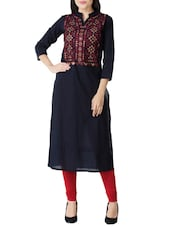 blue cotton embroidered straight kurta -  online shopping for kurtas