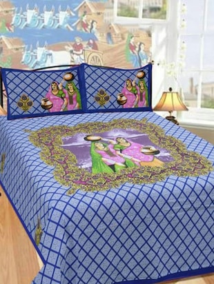 JAIPURI STYLE COTTON DOUBLE BEDSHEET WITH 2 PILLOW COVERS   Online Shopping  For Bed Sheet Sets