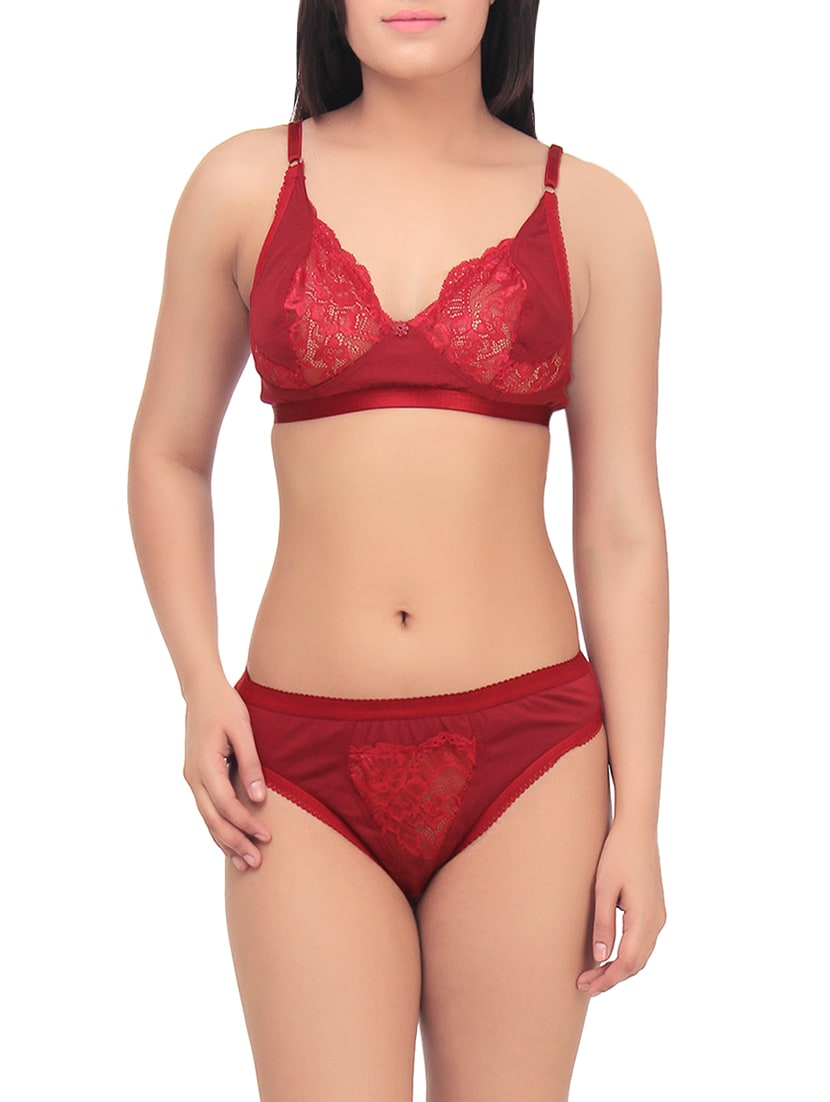 9f0f1172f2ebe Buy Red Cotton Bra And Panty Set for Women from Tace for ₹305 at 66% off |  2019 Limeroad.com