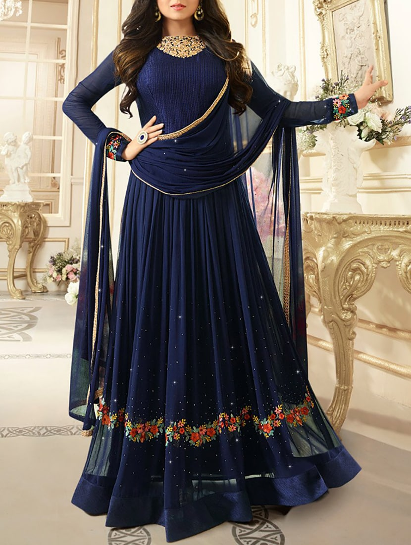 5dc9b63379 Blue Embroidered Anarkali Suit Semi Stitched Suit