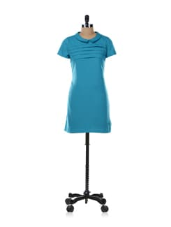 Blue Dress With Collar - Aamod
