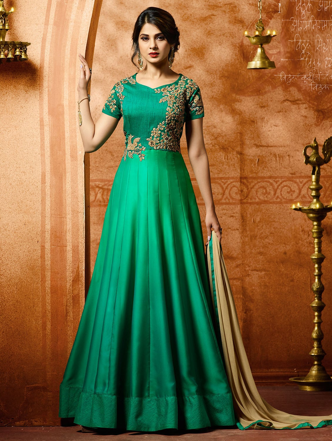 cfc315e9556a Buy Green Silk Semi-stitched Anarkali Suit for Women from Yoyo Fashion for  ₹2030 at 65% off