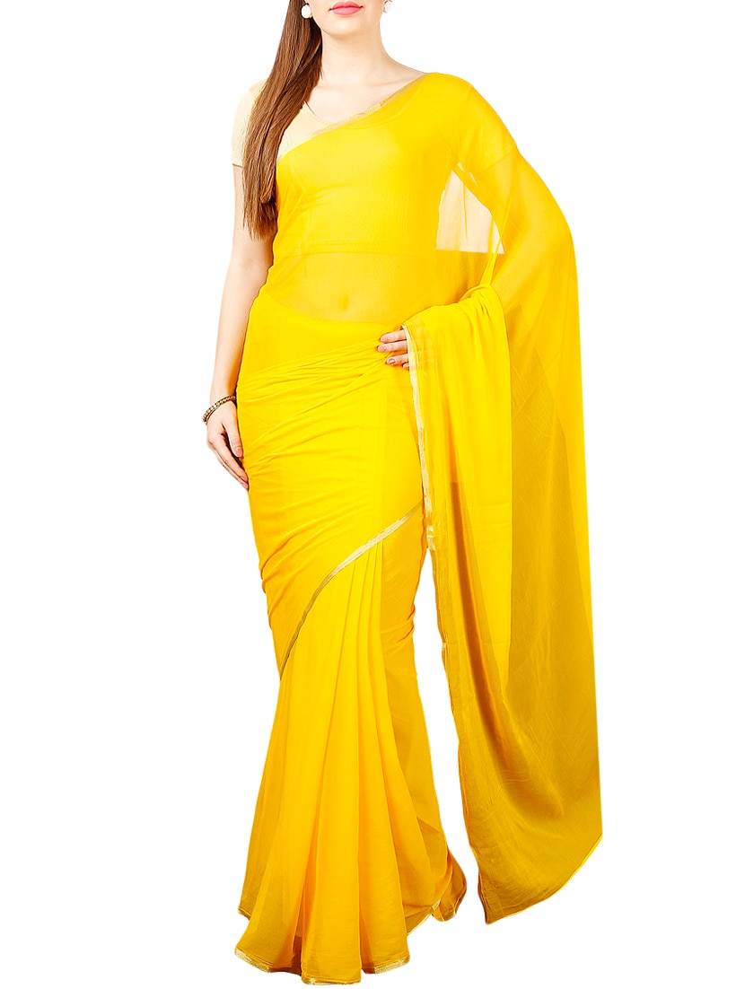 f5265ec63216fb Yellow Chiffon Plain Saree With Blouse