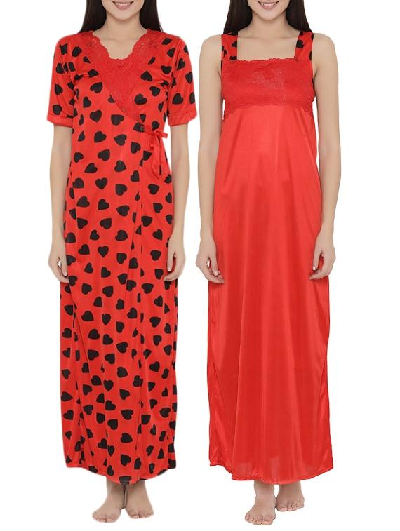 Buy Red Satin Nightwear Set by Clovia - Online shopping for Nightwear Sets  in India  bdf6f24c6