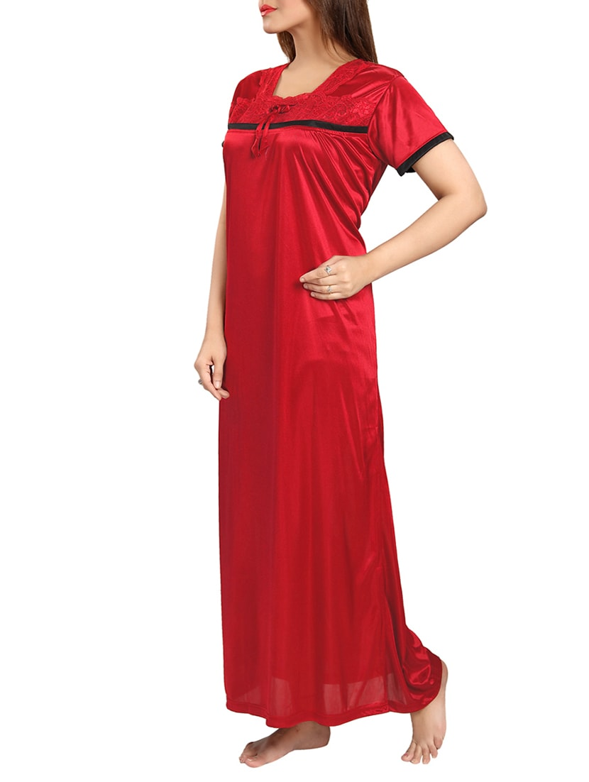 Buy Red Satin Sleepwear Gown by Be You - Online shopping for Gowns ...