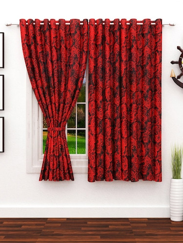 Red 2 pc Window curtain-5 feet - 14637654 - Standard Image - 1