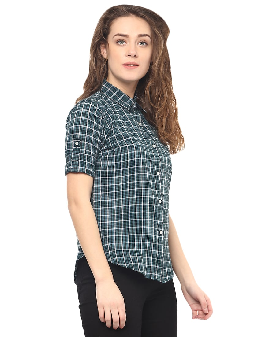 c54a592e648 Buy Green Checkered Shirt by Mayra - Online shopping for Shirts in India