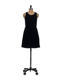 Black Net Sleeveless Dress - Aamod