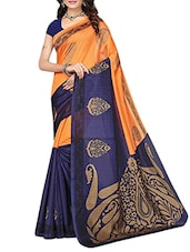 orange cotton silk printed saree with blouse -  online shopping for Sarees