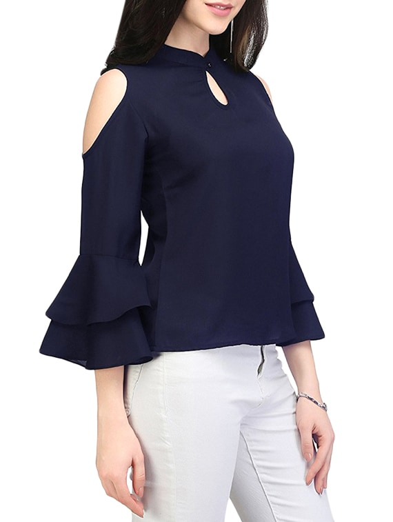 007b83c87e65a Buy Blue Cold Shoulder Top for Women from Indietoga for ₹695 at 46% off