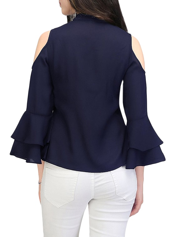 6471867da57b5 Buy Blue Cold Shoulder Top by Indietoga - Online shopping for Tops in India
