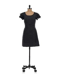 Black Polka Dot Dress - Aamod