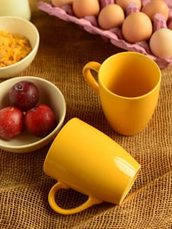 Ceramic Yellow Mugs-set Of 2 - Habitation