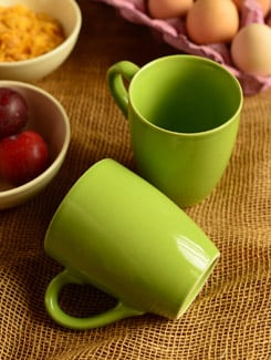 Coffee Mugs In Green- Set Of 2 - Habitation
