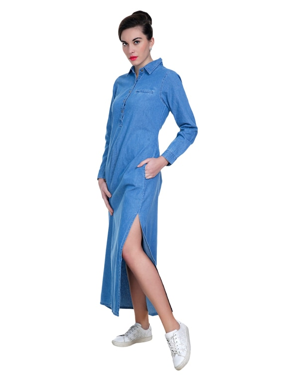 eae4322a3e1 Buy Light Blue Denim Maxi Dress for Women from Blue Tomatoes for ₹868 at  62% off