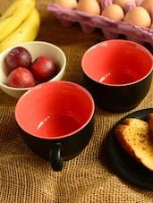 Two Tone Mugs-black And Red- Set Of 2 - Habitation