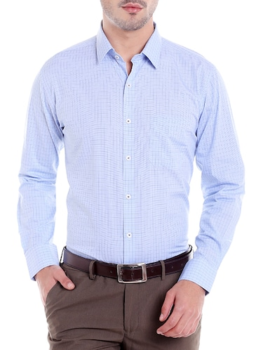 blue cotton formal shirt - 14666389 - Standard Image - 1