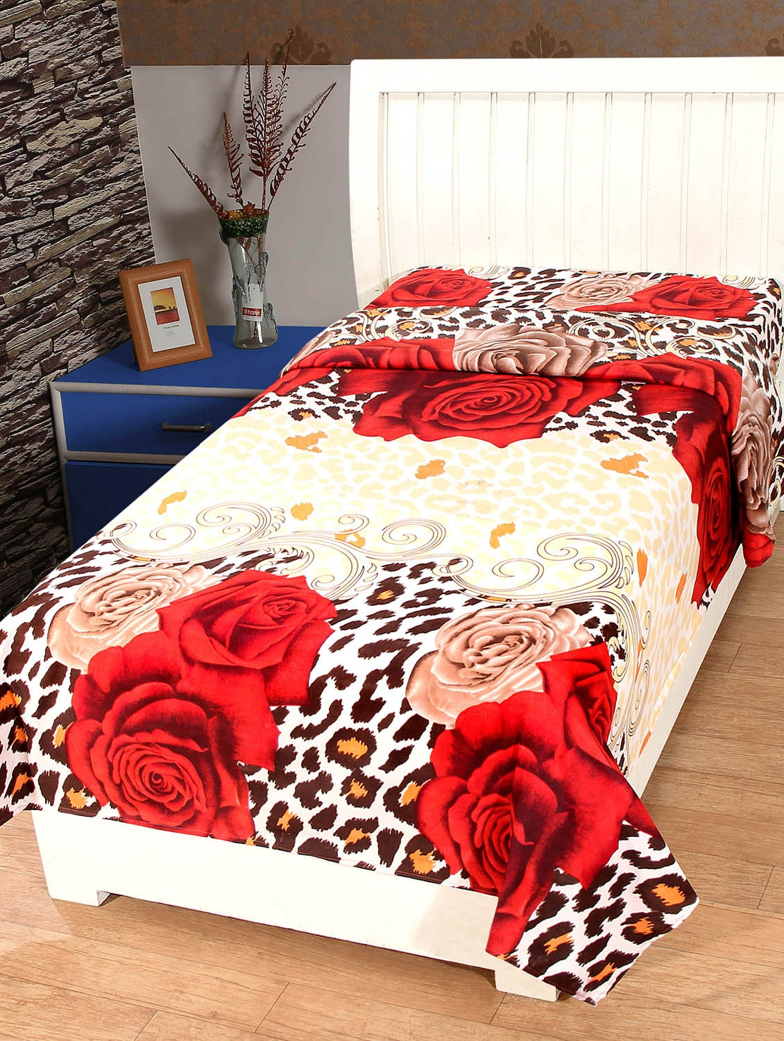 Buy Floral Print Cotton Single Bedsheet By Trendz Home Furnishing