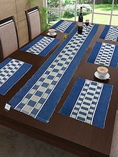 Cotton Ribbed Table Mats With Table Runner ( Set Of 7) - By