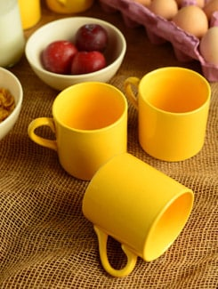 Ceramic Yellow Tea Cups-set Of 6 - Habitation