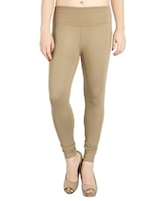 beige cotton blend jeggings -  online shopping for Jeggings