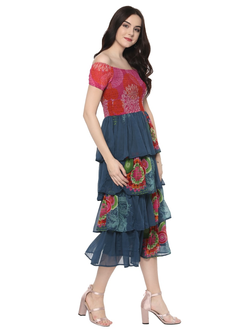f06e5c002f1 Buy Blue Printed Ruffle Dress by Stylestone - Online shopping for Dresses  in India