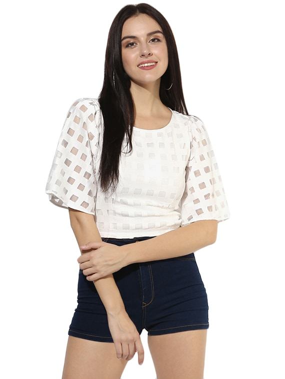 58d472351f96e8 Buy White Crop Top for Women from Magzayra for ₹1020 at 46% off ...