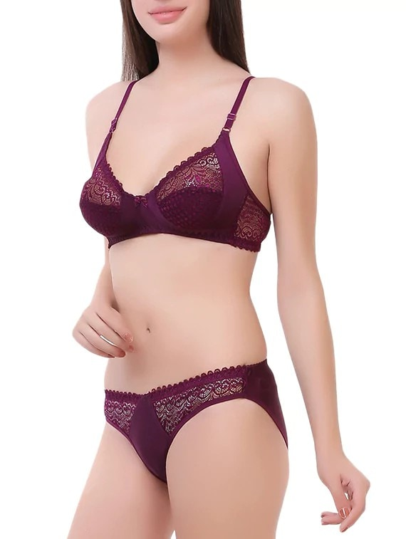 b2ce9f1628 Buy Purple Nylon Bras And Panty Set by Royal Fit - Online shopping for Bras  And Panty Set in India