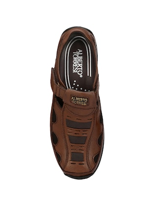 brown leatherette slip on sandal - 14706108 - Standard Image - 4