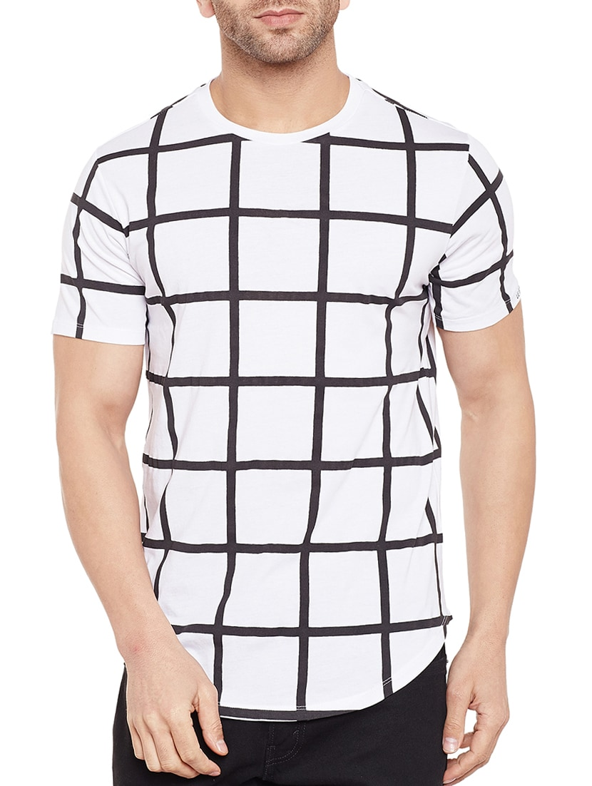 Buy White Cotton Checkered T-shirt by Le Bourgeois - Online shopping for T- shirts in India  2b9988f371d