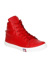 red leatherette lace up sneaker -  online shopping for Sneakers