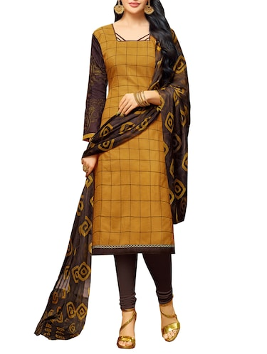 mustard chanderi cotton embroidered unstitched suit - 14722751 - Standard Image - 1