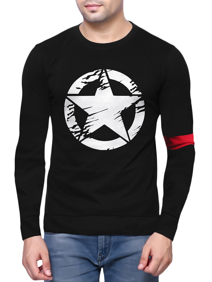 a785825291 Black Character Print T Shirt