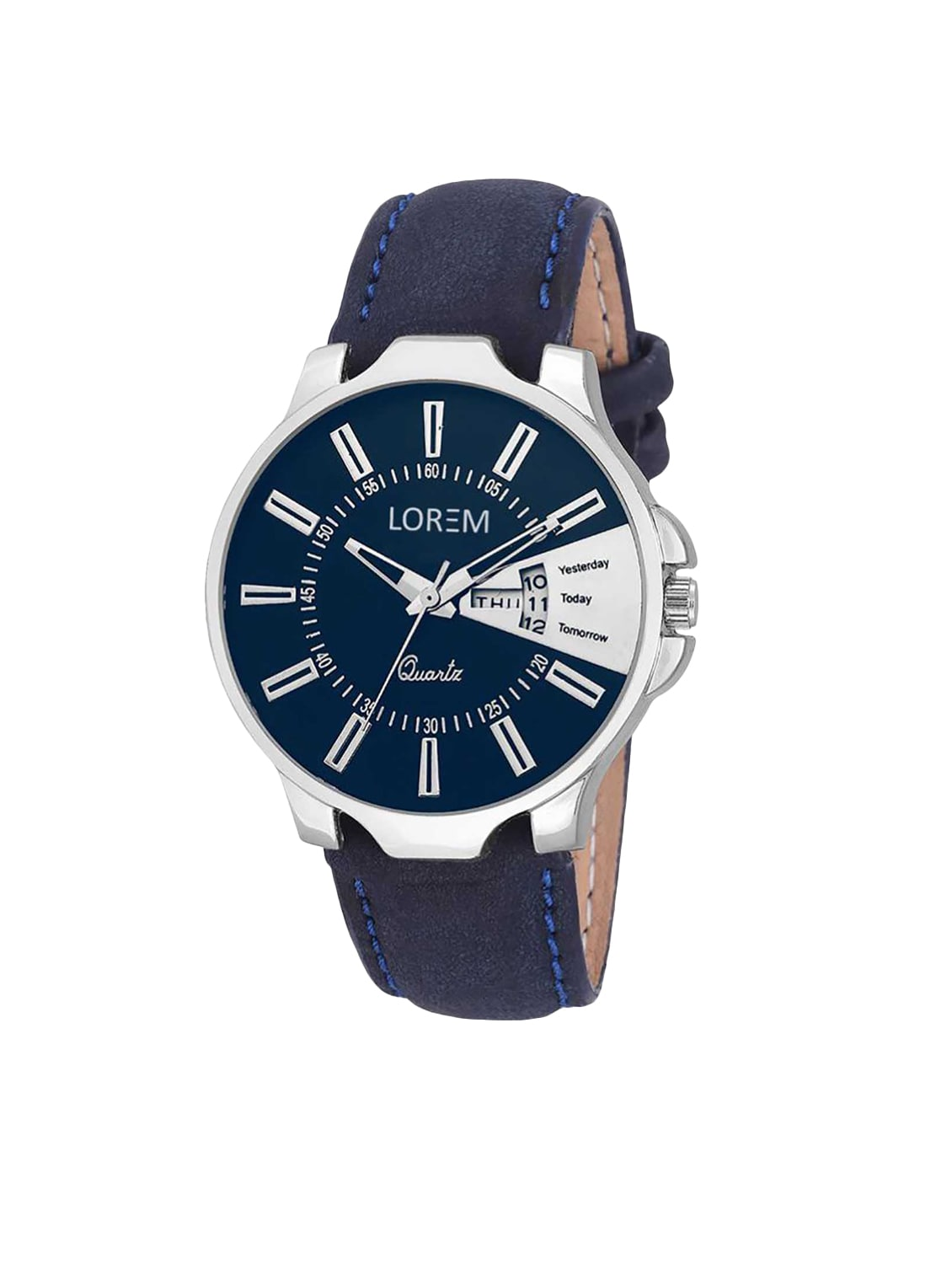 lorem fancy blue color designer dial with day   date analog watch for boys and men's