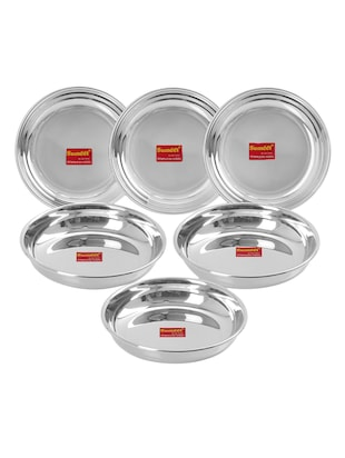Stainless Steel Heavy Gauge Small Plates with Mirror finish 11cm Dia - Set of 6pc -  online shopping for Plates