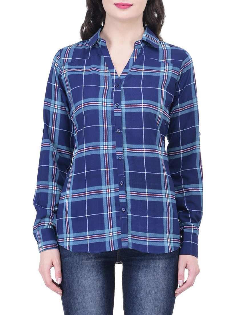 f19f3f9fa Buy Blue Checkered Shirt for Women from Trendif for ₹543 at 61% off | 2019  Limeroad.com