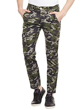 green cotton cargos casual trousers -  online shopping for Casual Trousers