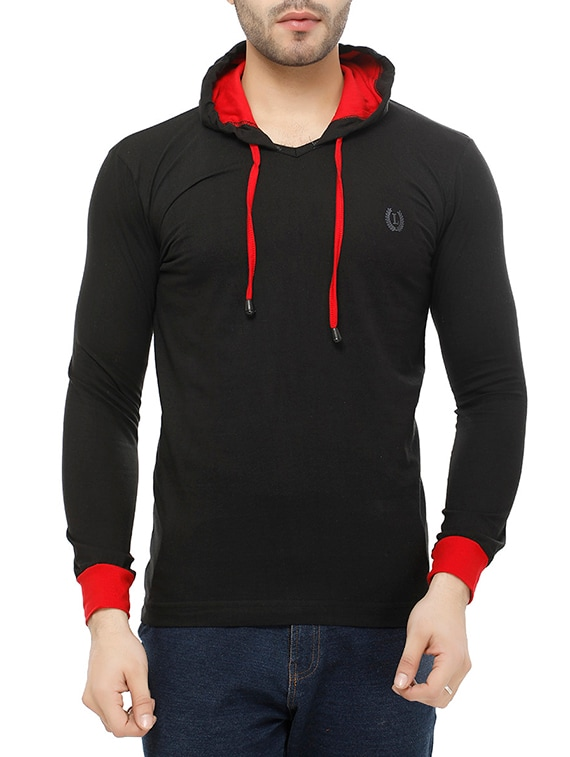 black solid hooded t shirt