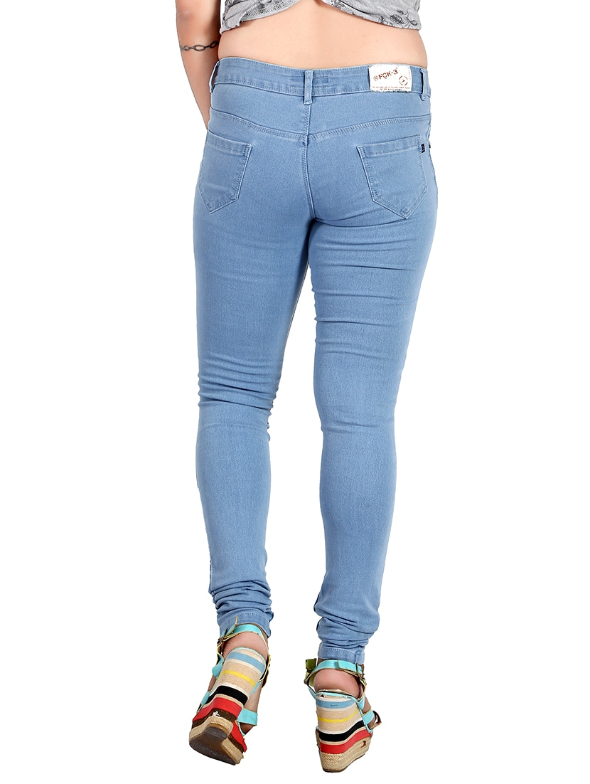 55a170d4679 Buy Light Blue Denim Jeans by Fck-3 - Online shopping for Jeans in India