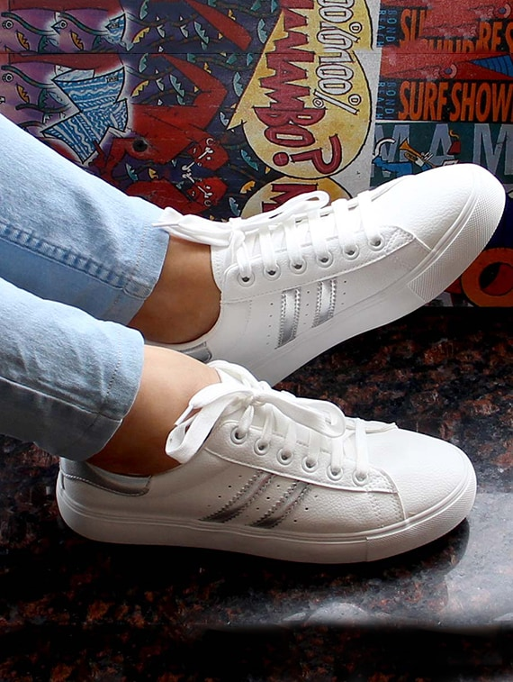 Tremendous White Faux Leather Laceup Sneakers Gamerscity Chair Design For Home Gamerscityorg