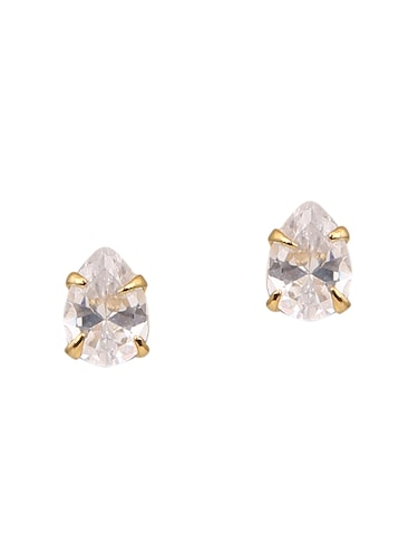 white metal studs earrings - 14755176 - Standard Image - 1