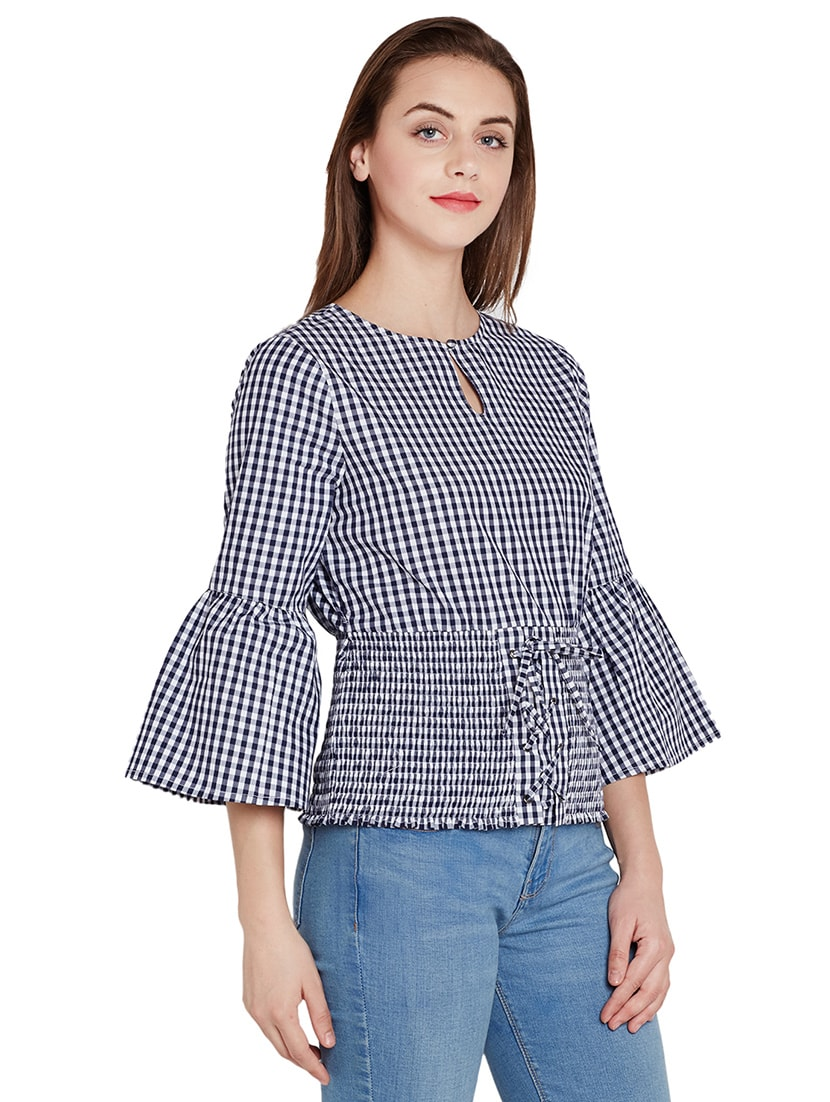 e024d0146e5ecb Buy Gingham Checked Bell Sleeved Top for Women from Femella for ₹655 at 56%  off | 2019 Limeroad.com
