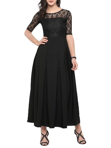 lace sleeves box pleat gown dress - 14755648 - Standard Image - 1