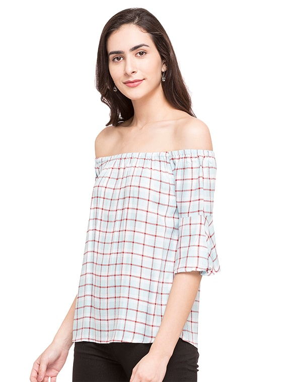 85bc4b13ab1 Buy Off Shoulder Checkered Top for Women from Globus for ₹390 at 70% off    2019 Limeroad.com