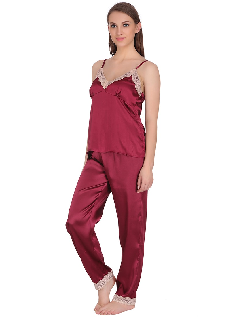 c6ecd63323 Buy Red Satin Nightwear Pyjama Set by Clovia - Online shopping for Nightwear  Sets in India
